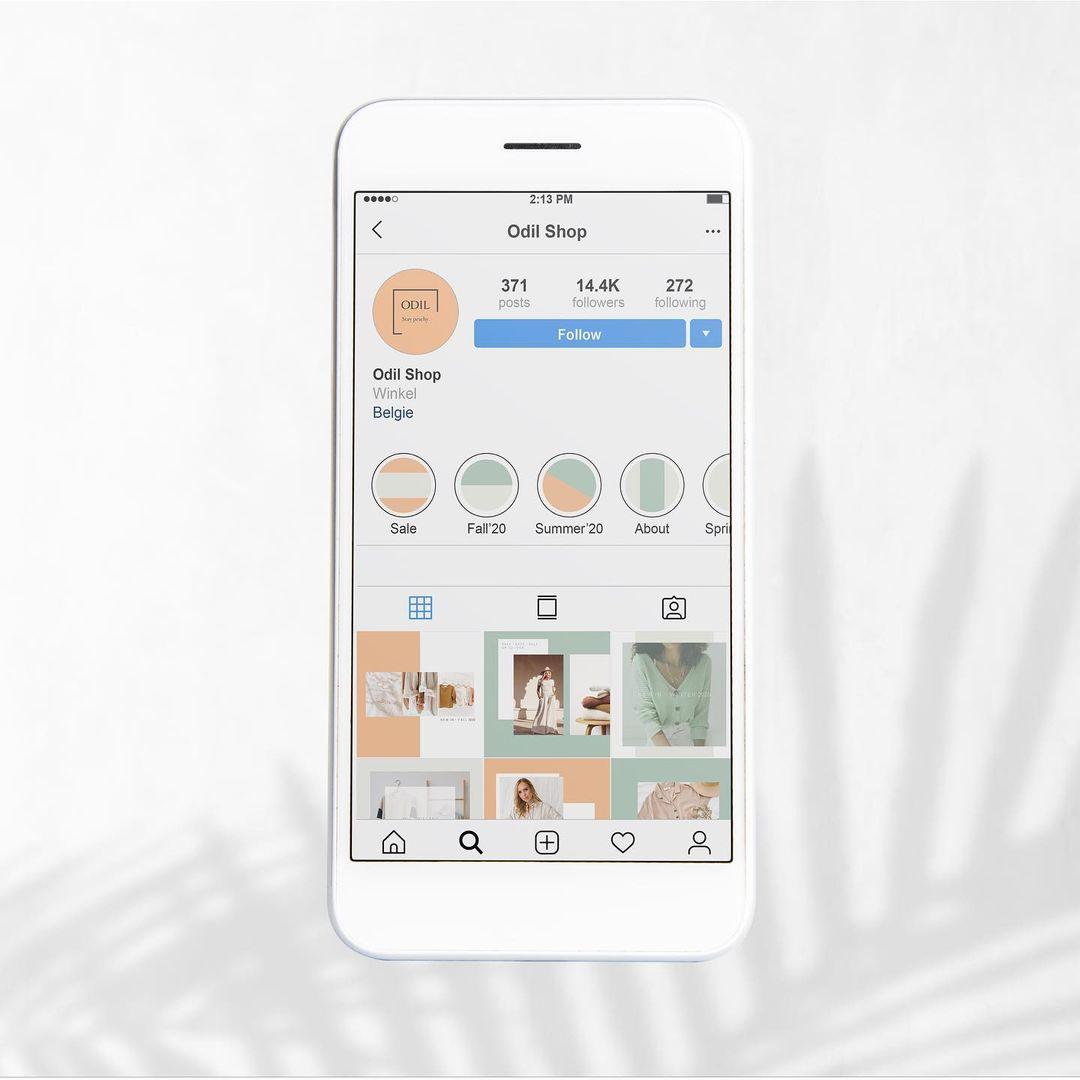 Instagram-template voor Odil shop met bijhorende story-templates en highlight-iconen